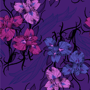 vector seamless pattern with blooming irises on a dark violet backgroundのイラスト素材 [FYI03081548]