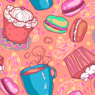 vector seamless pattern with cakes and cups of teaのイラスト素材 [FYI03081608]