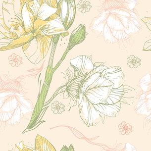 vector seamless pattern with blooming flowers on a bright beige  backgroundのイラスト素材 [FYI03081618]