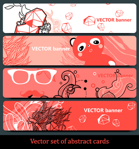 vector set of abstract cards in different shades of redのイラスト素材 [FYI03081707]