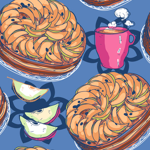 vector  seamless pattern with apple pies and cups of teaのイラスト素材 [FYI03081719]