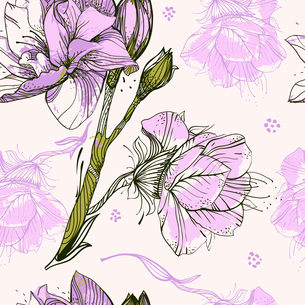 vector floral seamless pattern with violet blooming flowersのイラスト素材 [FYI03081760]