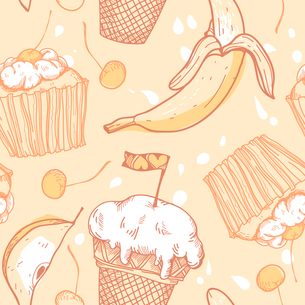 vector foodl seamless pattern with cakes, fruits and ice-creamのイラスト素材 [FYI03081777]