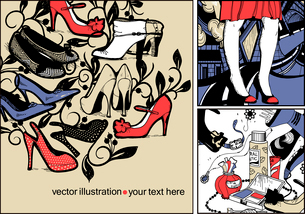 vector set of three hand drawn cards with fashion shoes,cosmetics and a girl in a red dress on an urのイラスト素材 [FYI03081780]