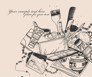 hand drawn cosmetics and other things for make up and beautyのイラスト素材 [FYI03081799]