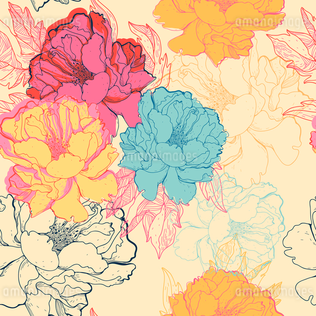 vector floral seamless pattern with fantasy blooming rosesのイラスト素材 [FYI03081807]