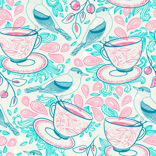 vector seamless  pattern with cups of tea and blue birdsのイラスト素材 [FYI03081814]