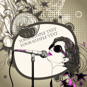 vector frame with a young singer with pink lips singing a song on an abstract floral backgroundのイラスト素材 [FYI03081888]