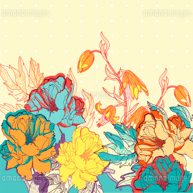 vector illustration of abstract blooming rosesのイラスト素材 [FYI03081894]