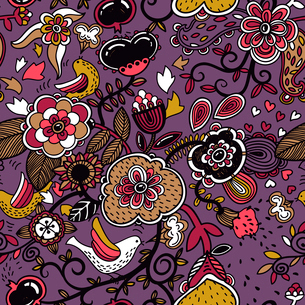 vector floral pattern with colorful plants and birds on a violet backgroundのイラスト素材 [FYI03081901]