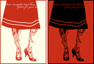 vector set of two hand drawn cards with abstract  floral legs  and streaky skirtのイラスト素材 [FYI03081945]