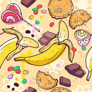 vector seamless pattern with a variety of sweetsのイラスト素材 [FYI03082009]
