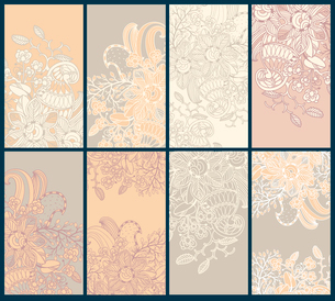 vector collection of  beige floral cardsのイラスト素材 [FYI03082045]