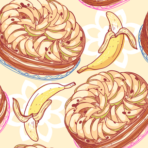 vector  seamless pattern with apple pies and bananasのイラスト素材 [FYI03082077]