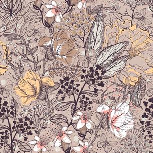 vector floral pattern with beige garden flowersのイラスト素材 [FYI03082099]