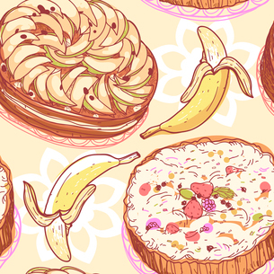 vector food  seamless pattern with pies and bananasのイラスト素材 [FYI03082103]