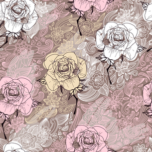 vector seamless floral pattern with blooming roses on a beige backgroundのイラスト素材 [FYI03082171]
