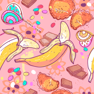 vector seamless pattern sweets and fruitsのイラスト素材 [FYI03082237]