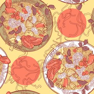 vector  seamless pattern with plates of italian pastaのイラスト素材 [FYI03082238]