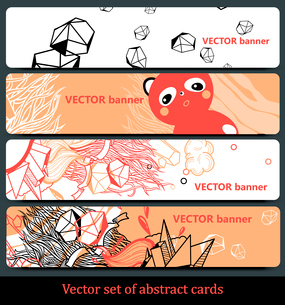 vector set of abstract hand-drawn bannersのイラスト素材 [FYI03082288]