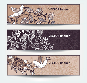 vector set of beige floral cardsのイラスト素材 [FYI03082294]
