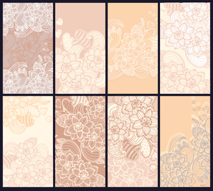 vector set of beige floral cardsのイラスト素材 [FYI03082321]