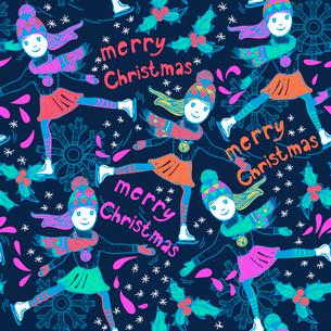 Christmas vector seamless pattern with skating girlsのイラスト素材 [FYI03082353]
