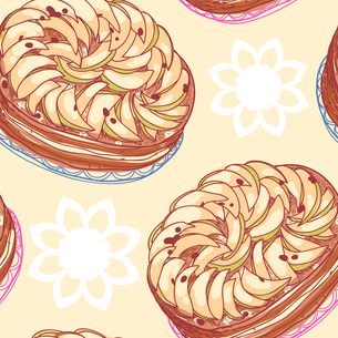vector seamless pattern with apple piesのイラスト素材 [FYI03082361]