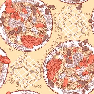 vector seamless pattern with plates of italian pastaのイラスト素材 [FYI03082399]