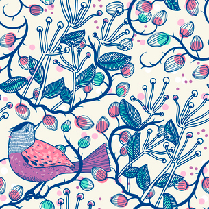 vector floral seamless pattern with a violet bird and berriesのイラスト素材 [FYI03082434]