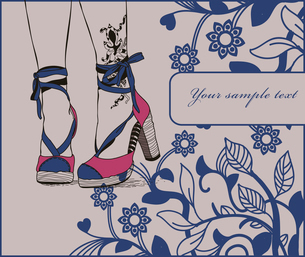 pretty legs with tattoo in trendy summer heels on a floral backgroundのイラスト素材 [FYI03082451]