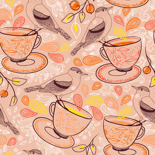vector seamless pattern with birds and  tea cupsのイラスト素材 [FYI03082457]