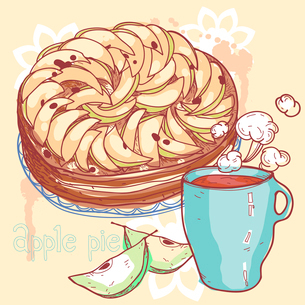 vector illustration of an apple pie and a cup of teaのイラスト素材 [FYI03082465]