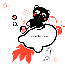 vector frame with  a cartoon bear and abstract flameのイラスト素材 [FYI03082470]