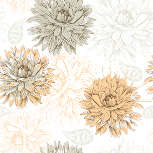 vector floral seamless pattern with beige flowersのイラスト素材 [FYI03082482]