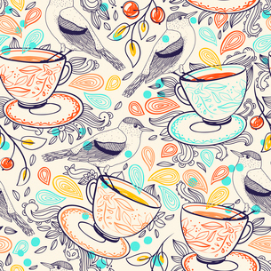 vector seamless  pattern with cups of tea and little birdsのイラスト素材 [FYI03082495]