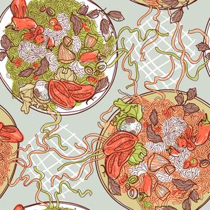 vector  seamless pattern with italian pastaのイラスト素材 [FYI03082500]