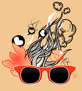 vector illustration of red old-fashioned sunglassesのイラスト素材 [FYI03082504]