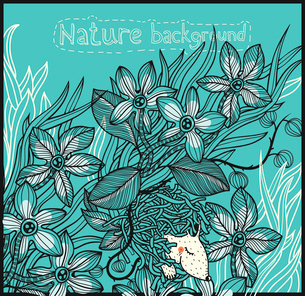 vector floral background with hand drawn plants and a little sleeping animalのイラスト素材 [FYI03082508]