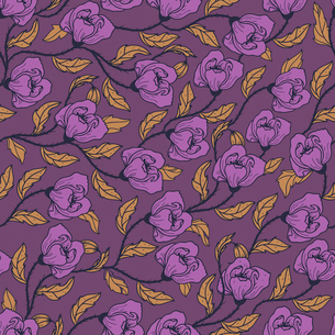 vector  floral  seamless pattern with blooming violet poppiesのイラスト素材 [FYI03082558]