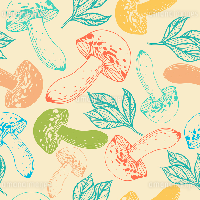 vector  seamless pattern with colorful mushroomsのイラスト素材 [FYI03082562]