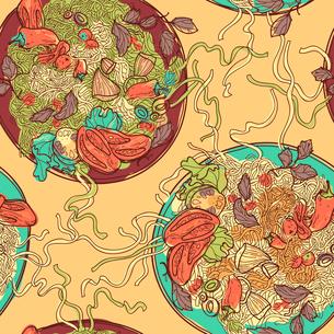 vector  seamless pattern with plates of Italian pastaのイラスト素材 [FYI03082573]