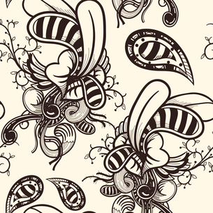 vector seamless pattern with vintage lips and plantsのイラスト素材 [FYI03082593]