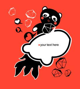 vector illustration of a black panda on a cartoon rocketのイラスト素材 [FYI03082594]