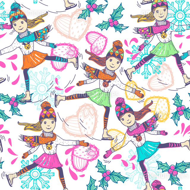 Christmas vector seamless pattern with skating girlsのイラスト素材 [FYI03082614]