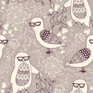 vector seamless pattern with abstract animals on a beige floral backgroundのイラスト素材 [FYI03082615]