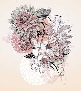vector illustration of a beige flowers and butterfliesのイラスト素材 [FYI03082652]