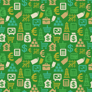 Vector seamless pattern with finance iconsのイラスト素材 [FYI03082675]