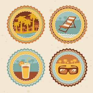 abstract logo - retro labels with summer iconsのイラスト素材 [FYI03082730]
