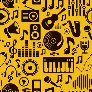 Vector music seamless pattern with iconsのイラスト素材 [FYI03082754]